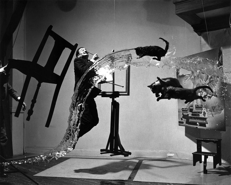 Dali Atomicus, photo by Philippe Halsman (1948), shown before support wires were removed from the image