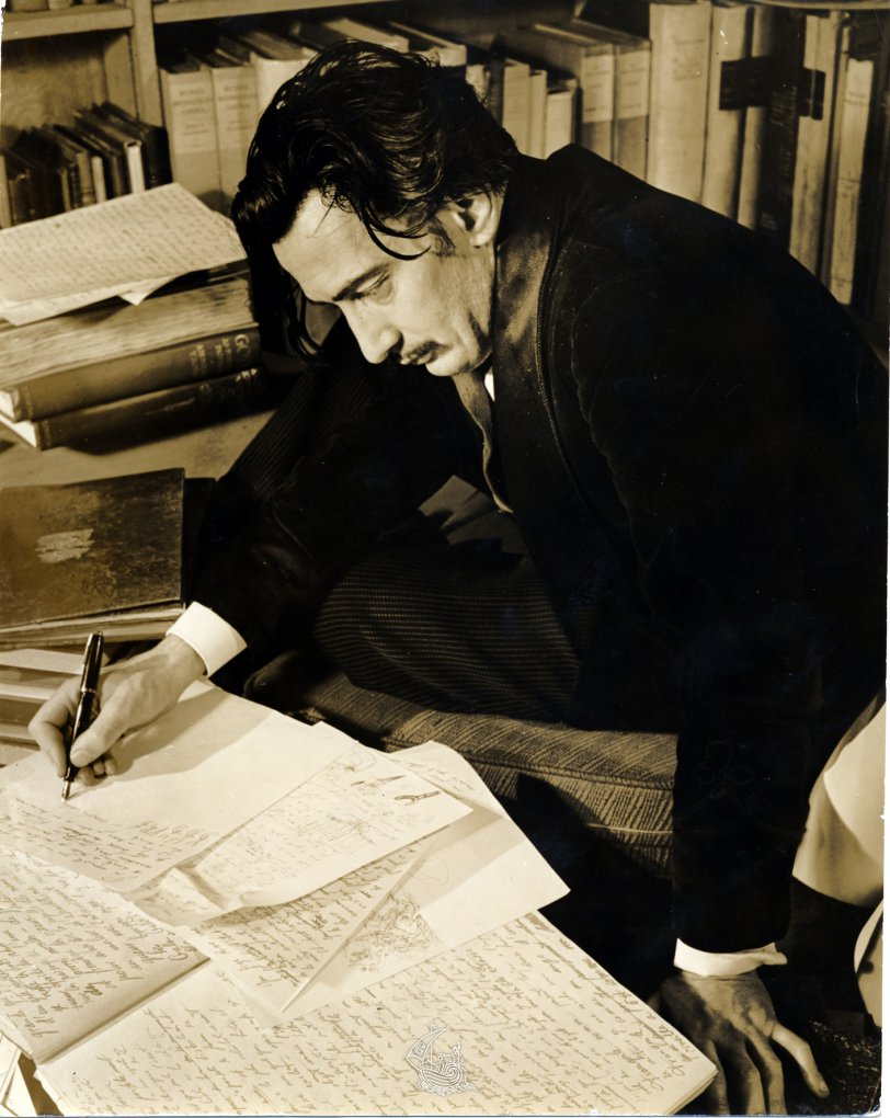 Eric Schaal, Salvador Dalí writing The Secret Life of Salvador Dalí in Hampton Manor, Virginia, 1941