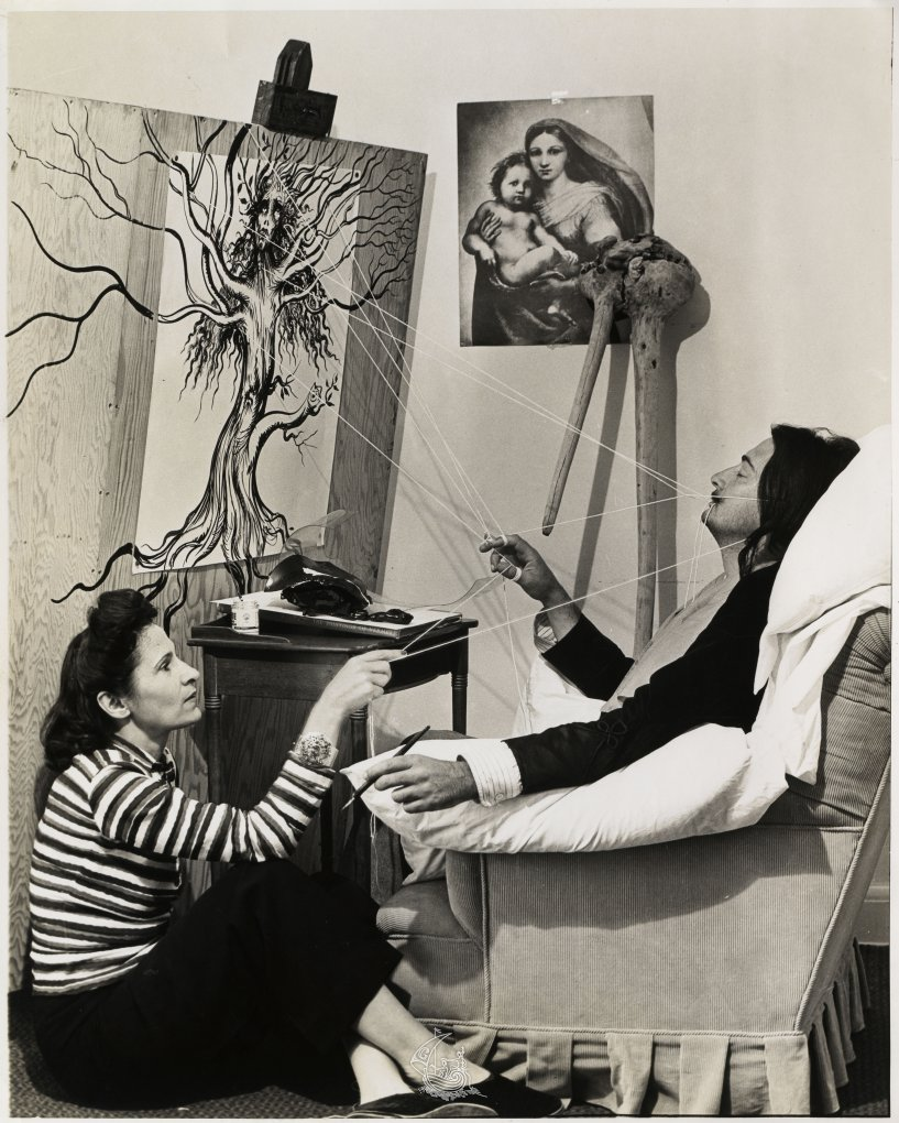 Gala and Salvador Dalí during the period of writing 50 Secrets Magic Craftsmanship in Del Monte Lodge Hotel, 1947