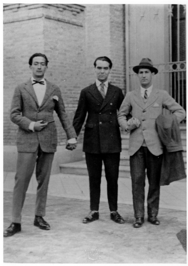 Salvador Dalí, Federico García Lorca and Pepín Bello at the Natural Sciences Museum in Madrid, 1925