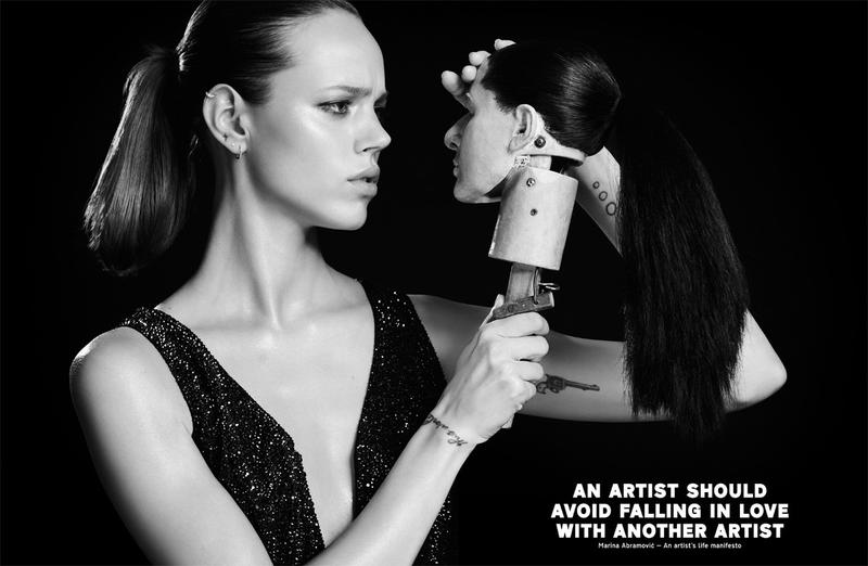 Pop Magazine -An Artist Should Not Make HImself Into An Idol.Fall/Winter 2012. Photo by: Rene Habermacher. Models: Freja Beha Erichsen and Marina Abramovic