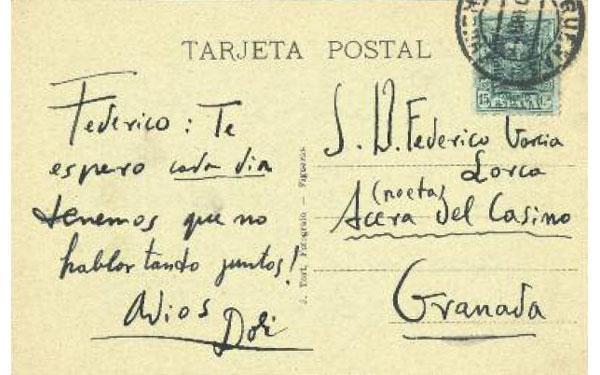 """Federico. Σε περιμένω κάθε μέρα. Δεν πρέπει να μιλάμε τόσο μαζί! Αντίο, Dalí"", Απρίλης 1927"